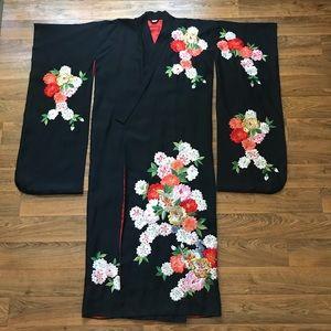 Vintage Black Kimono Silk Floral Embroidery Japan